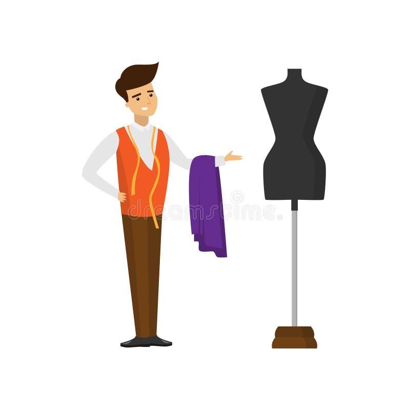 Posição do alfaiate com corte da tela e da fita e da mão de medição apontar no manequim ilustração royalty free