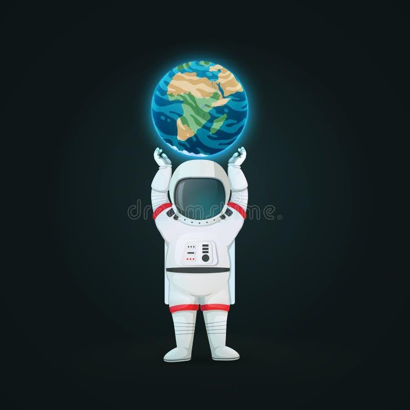 Posição do astronauta com a terra de apoio aumentada braços do planeta isolada em um fundo escuro ilustração do vetor