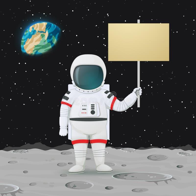 Posição do astronauta na superfície da lua que guarda um sinal O espaço, enterra e protagoniza no fundo ilustração royalty free
