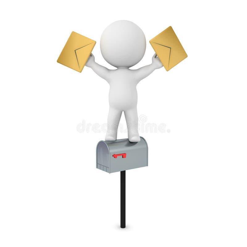 posição do caráter 3D sobre a caixa postal e os envelopes guardar ilustração royalty free