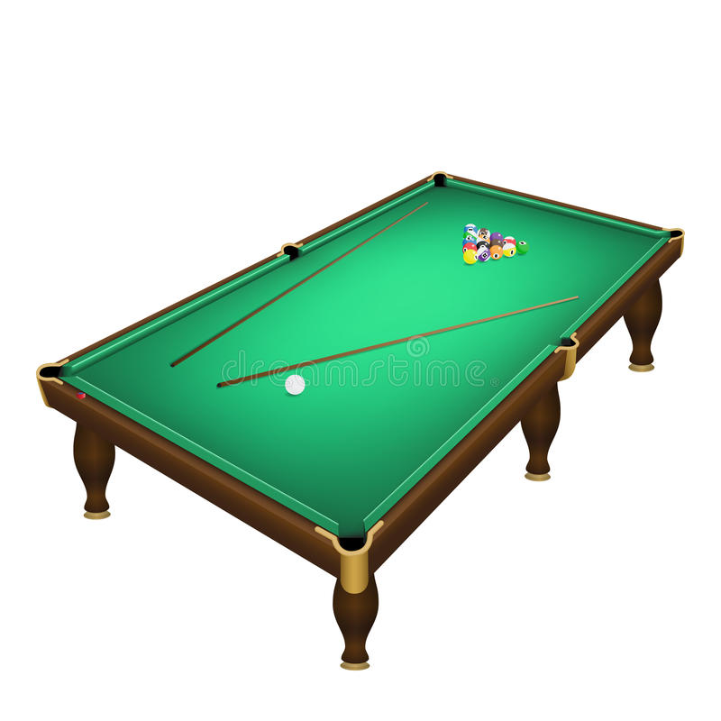 Posição do começo das bolas de jogo do bilhar sobre uma mesa de bilhar realística ilustração royalty free