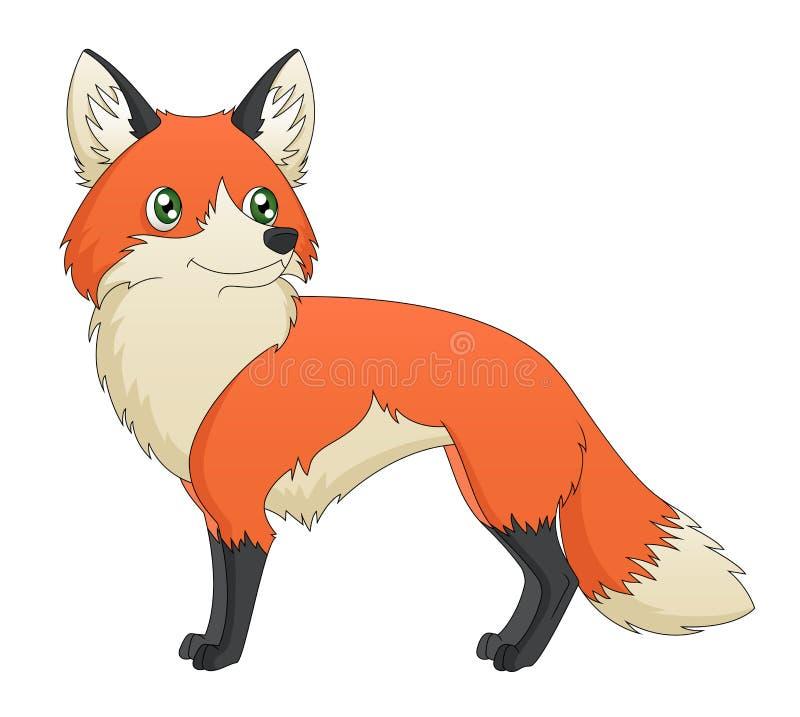 Posição do Fox vermelho dos desenhos animados ilustração do vetor