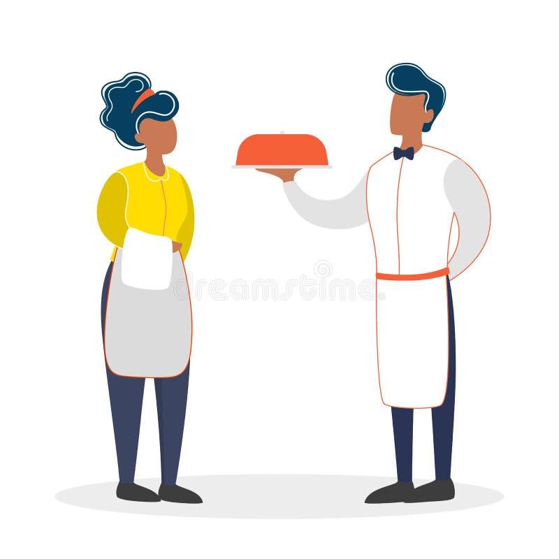 Posição do garçom e da empregada de mesa Pessoal do restaurante no uniforme ilustração stock