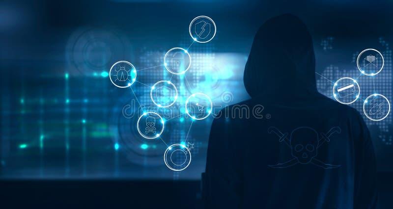 A posição do hacker e prepara-se para atacar sobre com ícones do crime do cyber ilustração stock