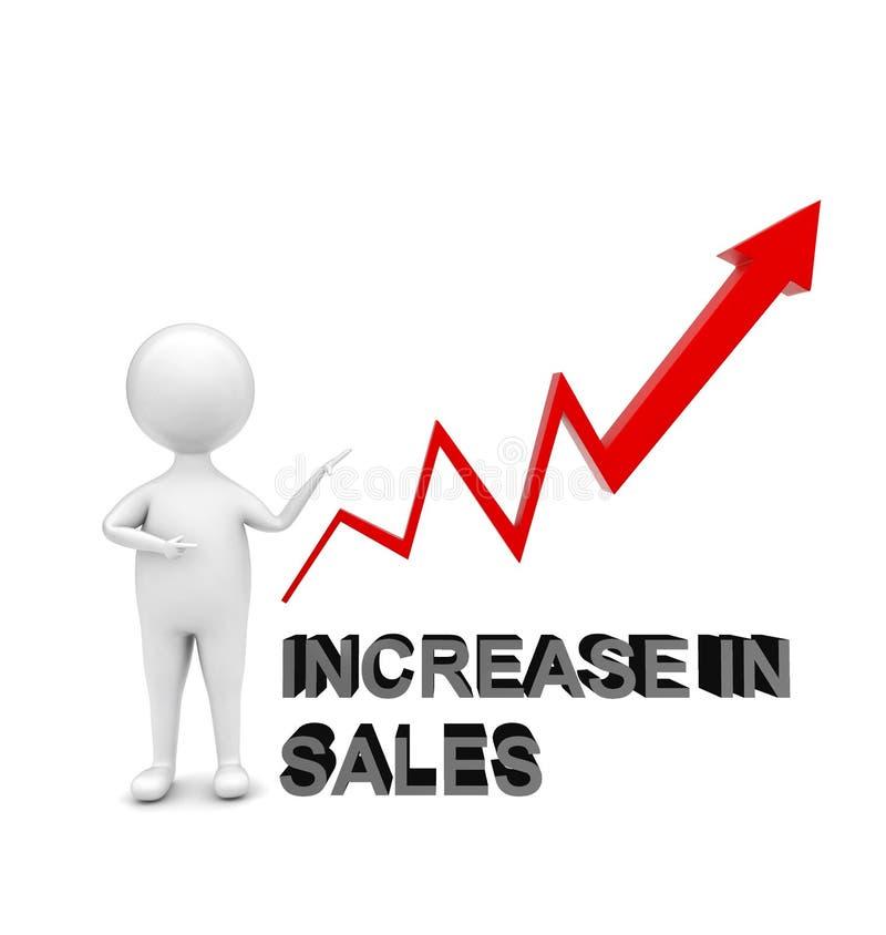a posição do homem 3d e apontar são mão para um aumento ascendente do _do gráfico da seta no conceito das vendas ilustração stock