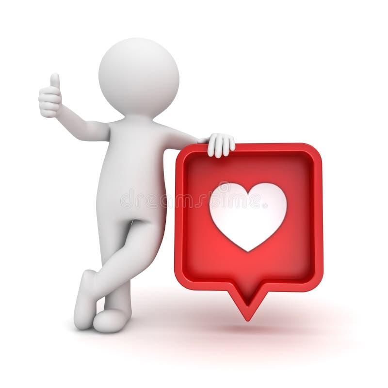 posição do homem 3d e mostrar como os polegares acima com amor social vermelho da notificação dos meios como o pino do ícone do c ilustração royalty free