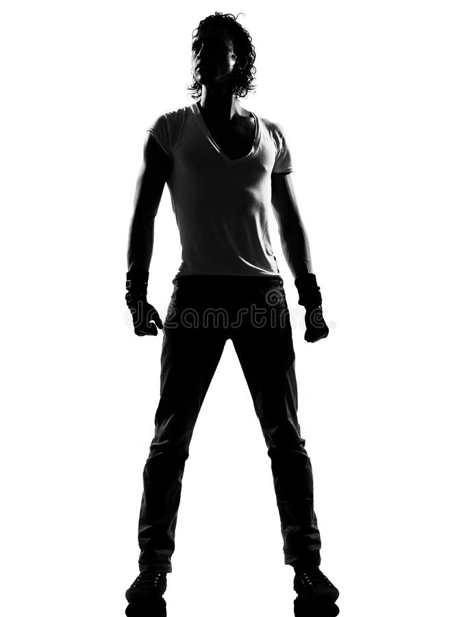 Posição do homem da dança do dançarino do funk do lúpulo do quadril fotos de stock
