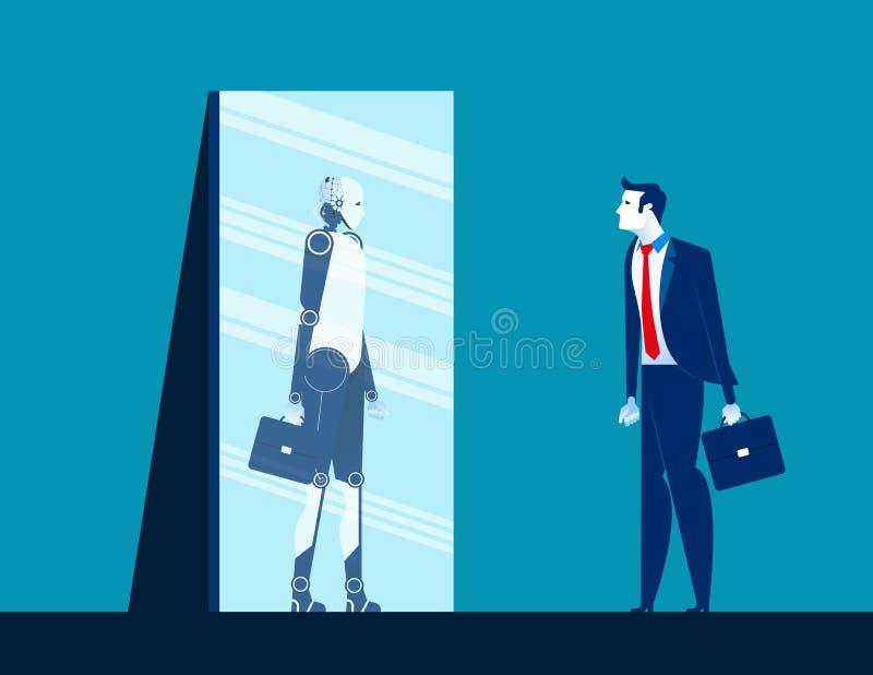 Posição do homem de negócios e corpo da vista no espelho da reflexão do robô Ilustração do vetor do negócio do conceito Estilo li ilustração do vetor