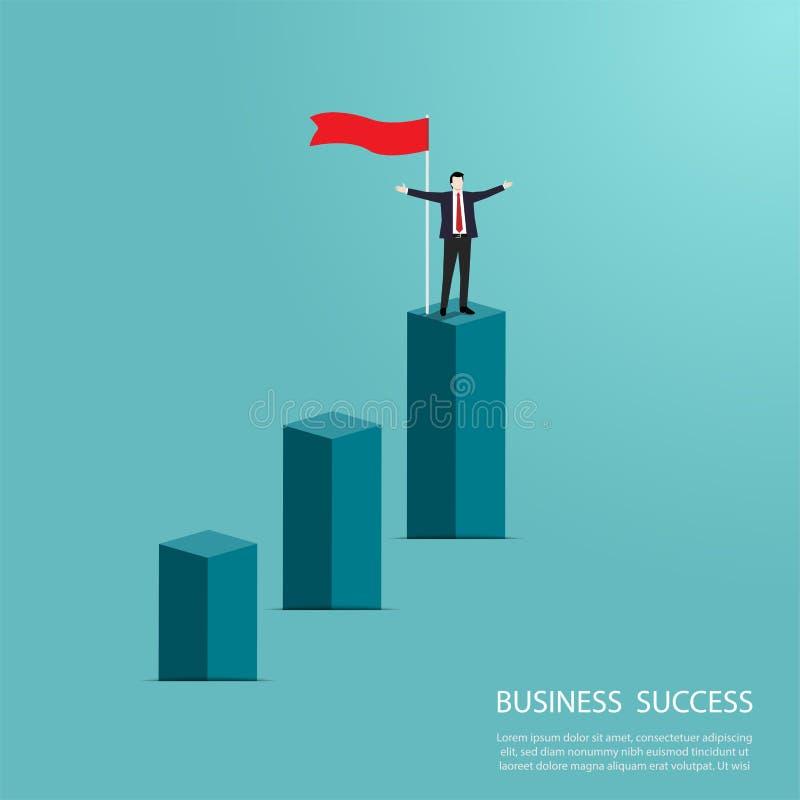 Posição do homem de negócios sobre o gráfico da coluna ilustração stock