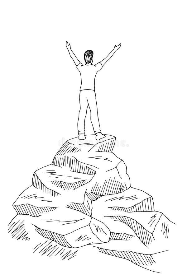 Posição do homem no vetor branco preto gráfico da ilustração do esboço da montanha superior do penhasco ilustração royalty free