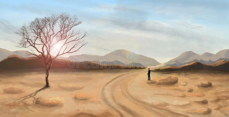 Posição do homem novo e vista na paisagem do deserto, pintura digital ilustração royalty free