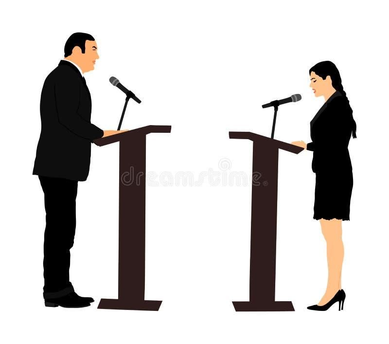 Posição do orador público na ilustração do vetor do pódio Evento da cerimônia da reunião da abertura da mulher do político Discur ilustração royalty free