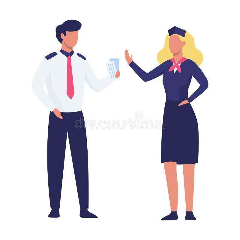 Posição do piloto e da comissária de bordo no uniforme ilustração do vetor