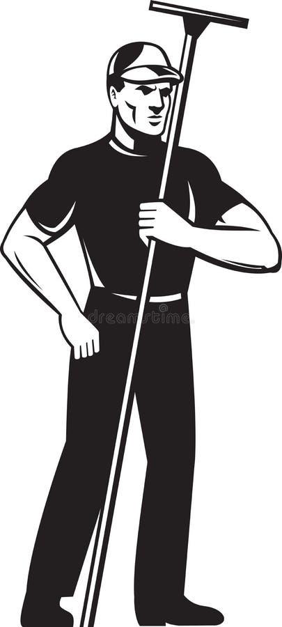 Posição do trabalhador do líquido de limpeza da arruela de indicador ilustração royalty free