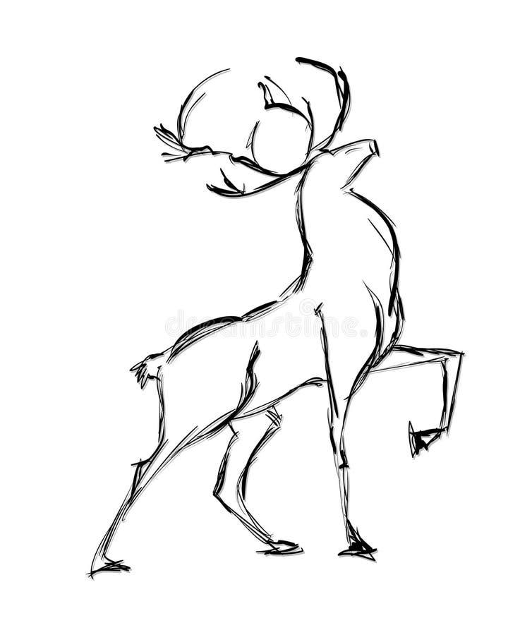 Posição dos cervos ilustração stock