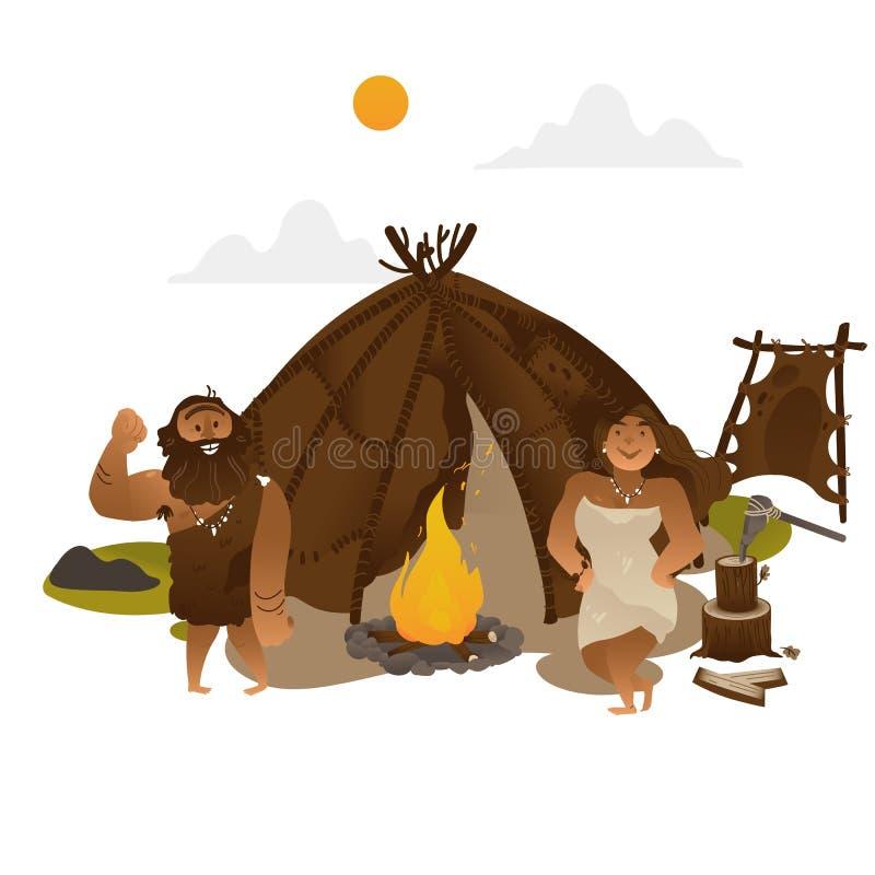 Posição dos povos antigos perto da tocha com a chaminé na Idade da Pedra ilustração stock