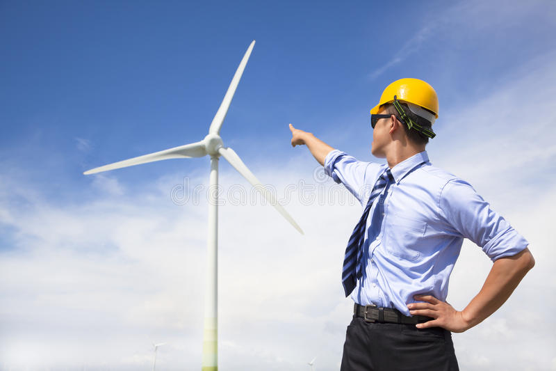 Posição e ponto novos do coordenador ao gerador de vento foto de stock