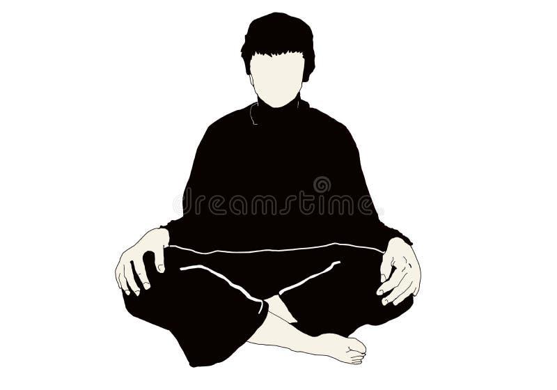 Posição e técnica da ioga ilustração stock