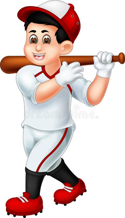 A posição engraçada dos desenhos animados do jogador de beisebol traz a vara com riso ilustração stock
