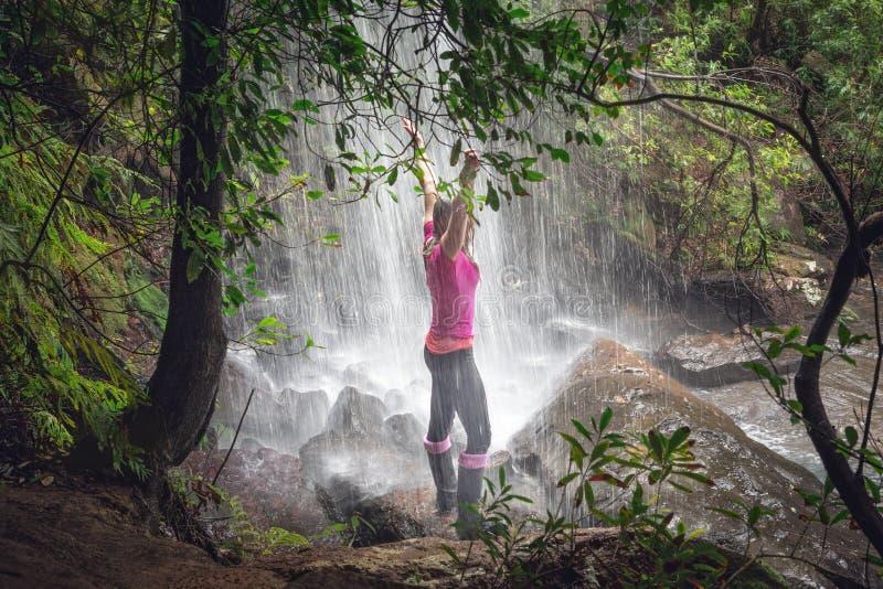 Posição fêmea nas cachoeiras com samambaias luxúrias, árvores no bushland foto de stock royalty free