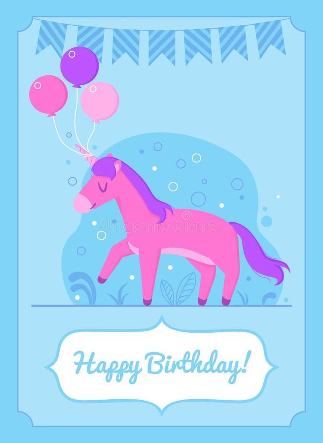 Posição feliz colorida do unicórnio do cartão de aniversário com balões ilustração do vetor