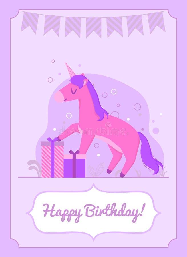 Posição feliz colorida do unicórnio do cartão de aniversário no presente ilustração stock