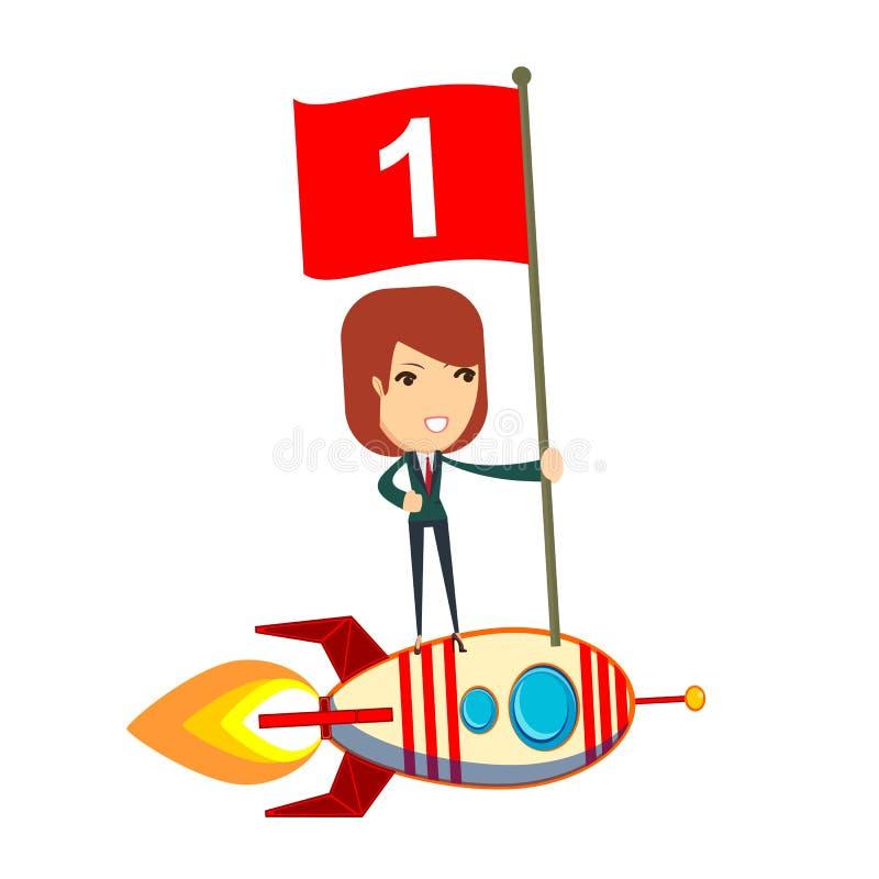 Posição feliz da bandeira do número um da terra arrendada da mulher no navio do foguete ilustração do vetor
