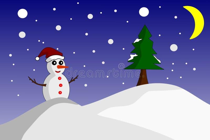 Posição feliz do boneco de neve no inverno da noite ilustração do vetor