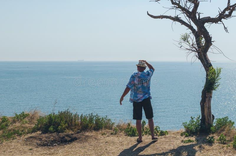 A posição feliz do homem novo em um penhasco com seus braços levantou olhares no mar imagem de stock royalty free