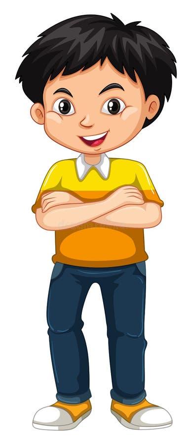 Posição feliz do menino no fundo branco ilustração royalty free