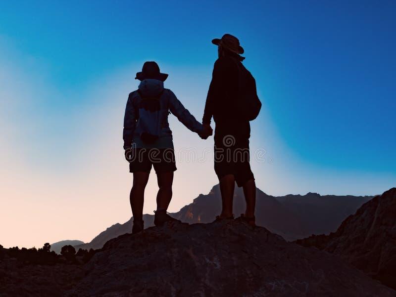 Posição feliz dos pares junto no pico da montanha foto de stock