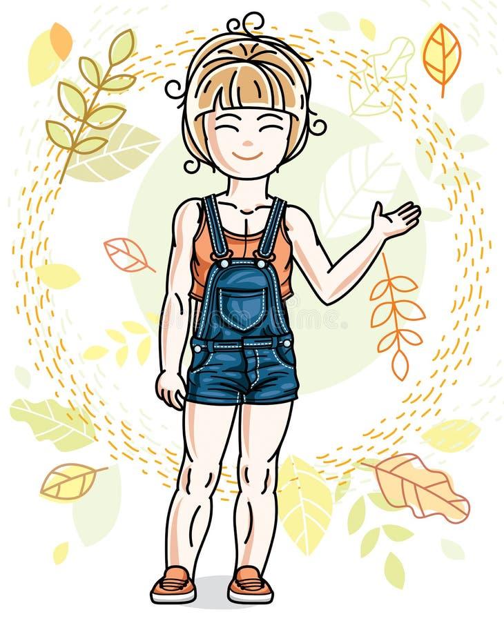 Posição loura pequena doce da menina no fundo do landsc do outono ilustração royalty free