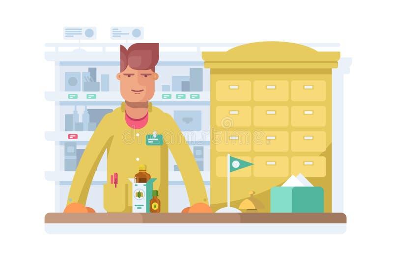 Posição masculina do farmacêutico na drograria da farmácia ilustração do vetor