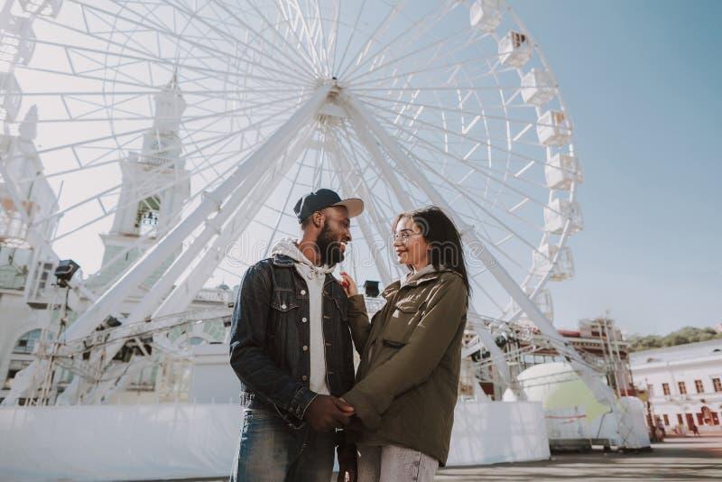 Posição nova alegre dos pares perto da roda de Ferris foto de stock royalty free