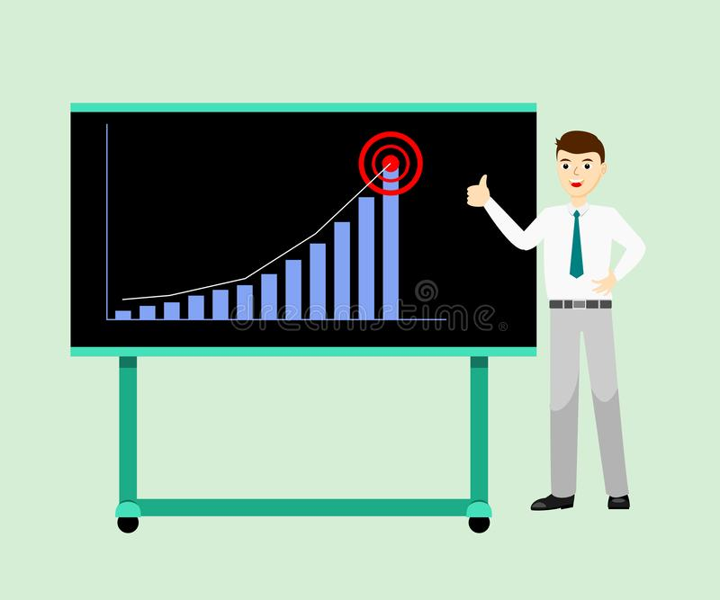 A posição oficial do desgaste do homem de negócios perto da placa da apresentação e os polegares-acima da doação assinam porque d ilustração do vetor