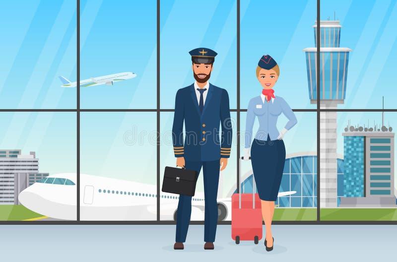 Posição pessoal de sorriso do piloto e da comissária de bordo do aeroporto antes da vista em decolar o plano e os desenhos animad ilustração stock