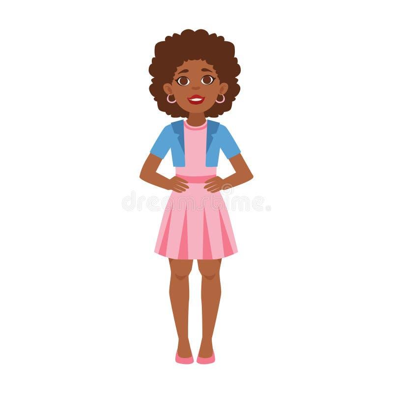 Posição preta da jovem mulher, parte de fases crescentes com as crianças no grupo diferente do vetor da idade ilustração royalty free