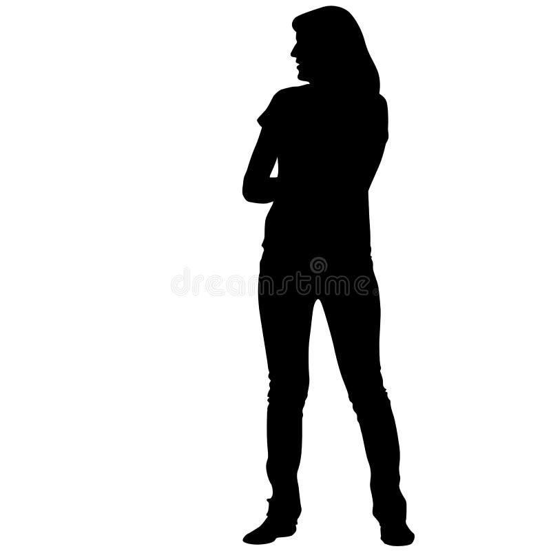 Posição preta da mulher da silhueta, pessoa no fundo branco ilustração royalty free