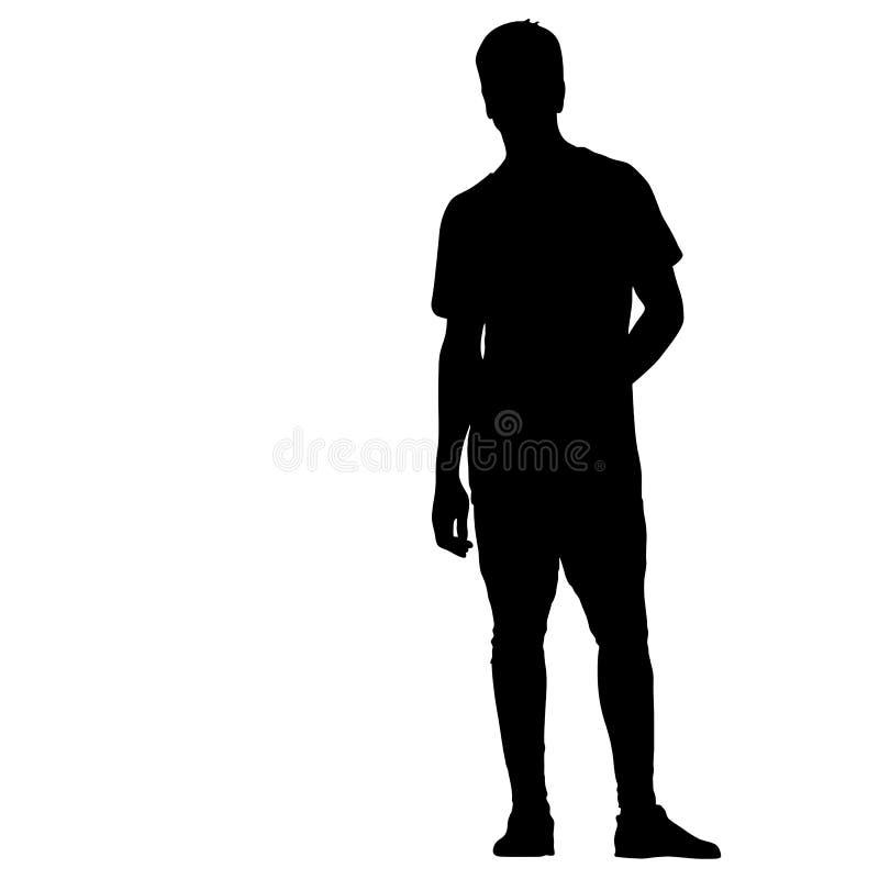 Posição preta do homem da silhueta, pessoa no fundo branco ilustração royalty free