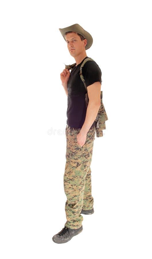 Posição relaxado do soldado imagem de stock