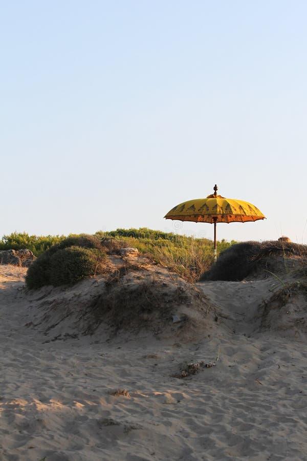 Posição típica do guarda-chuva de sol do Balinese na praia Salento, It?lia fotografia de stock