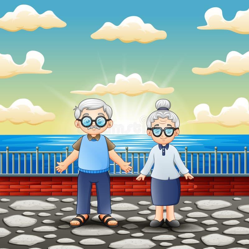 Posição velha feliz dos pares perto do mar ilustração do vetor