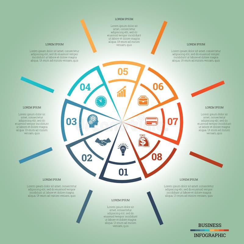 Posições coloridas do círculo oito do molde da carta de torta de Infographic ilustração stock