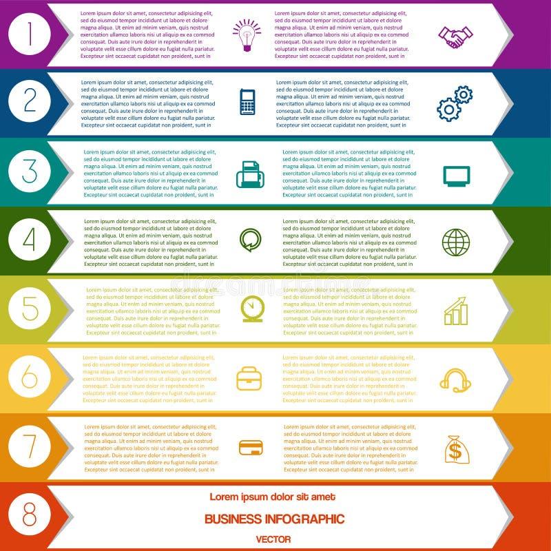 Posições do molde oito das setas de Infographic ilustração royalty free