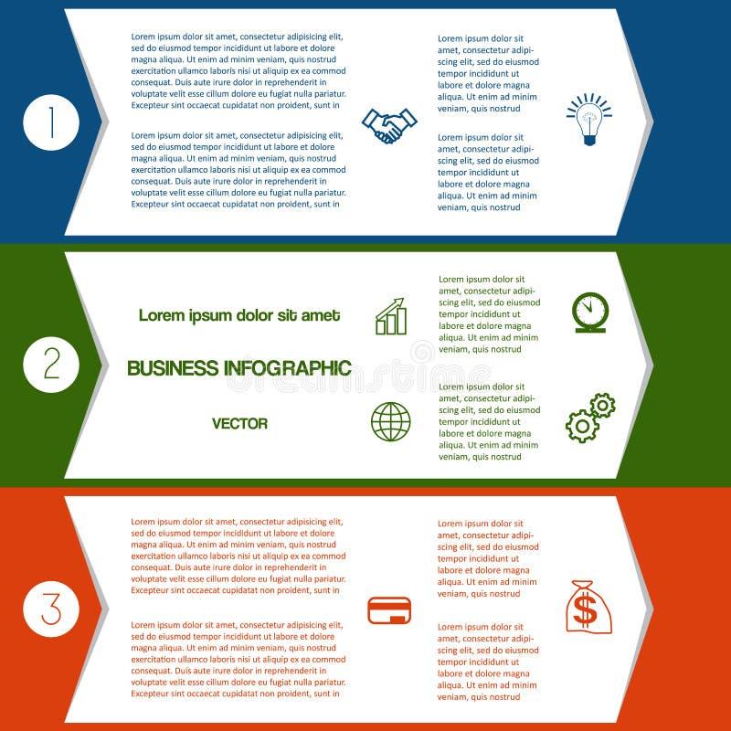 Posições do molde três das setas de Infographic ilustração royalty free