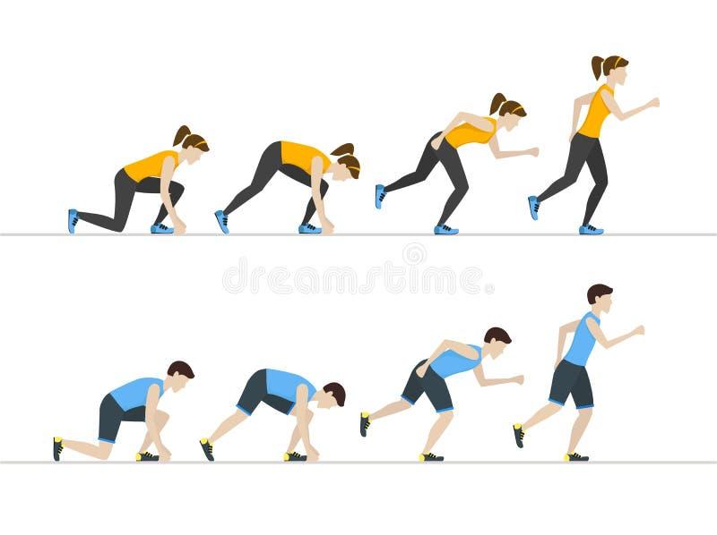 Posições running da etapa da mulher e do homem ajustadas Vetor ilustração do vetor