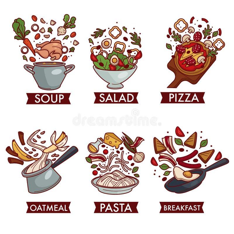 Posiłki lub naczynia karmowy mięsny owoc i warzywo ilustracji