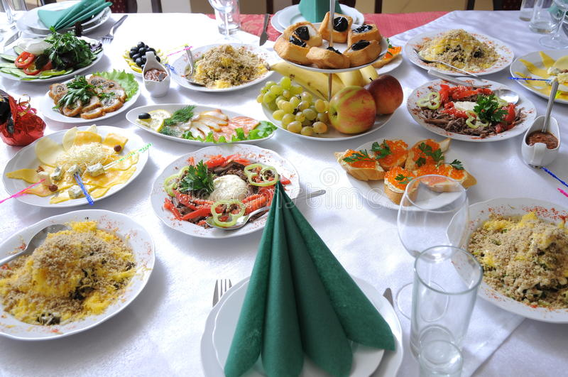 posiłku świąteczny stół fotografia royalty free