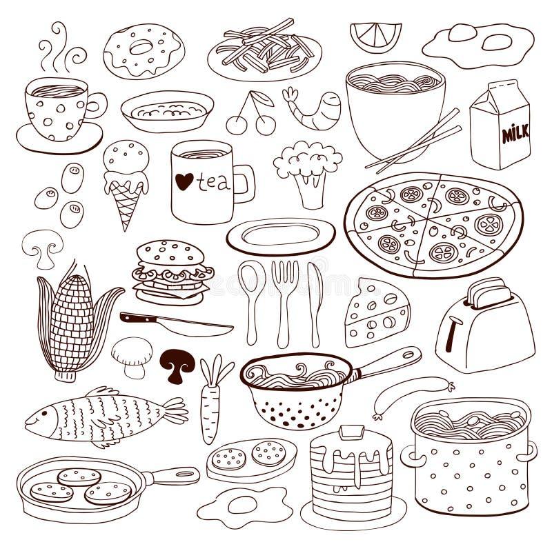 Posiłku i artykuły doodle set ilustracji