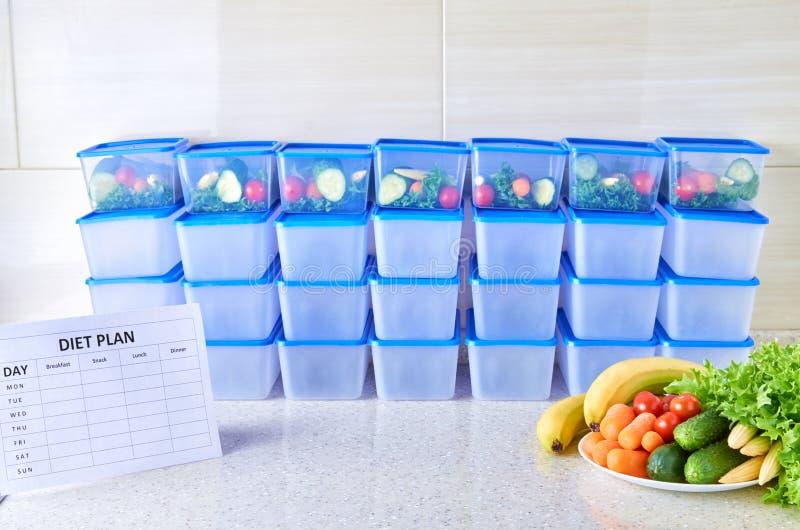 Posiłku plan dla tygodnia na białym stole wśród setu plastikowi zbiorniki dla jedzenia i jedzenia Właściwy odżywianie cztery czas zdjęcie royalty free